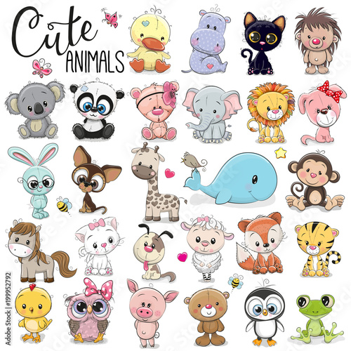 Set of Cute Cartoon Animals - 199952792