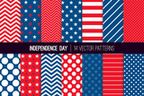 Independence Day Vector Patterns in Red White Blue Stars, Stripes, Polka Dots and Chevron. American 4th of July Party Celebration Backgrounds. Repeating Pattern Tile Swatches Included. - 199958178