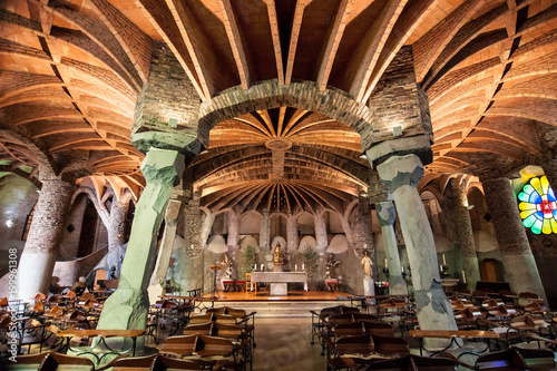 Foto op Canvas Barcelona Church of Colonia Guell