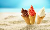 Ice cream in beach sand