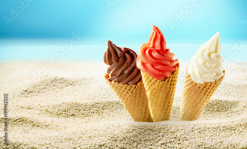 Ice cream in beach sand - 199962322