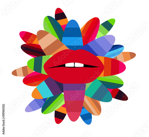 Fotobehang Pop Art Colorful lips with leafs vector