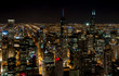 Chicago Skyline top view with illuminated skyscrapers by night, Illinois, USA