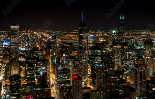 Fotobehang Chicago Chicago Skyline top view with illuminated skyscrapers by night, Illinois, USA
