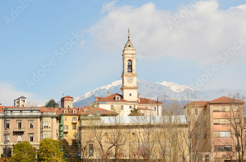 Beautiful streets and romantic houses in Ivrea cityscape. Italy, Europe.