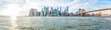 Panoramic Panorama view, overlook of outside outdoors in NYC New York City Brooklyn Bridge Park by east river, cityscape skyline during sunset with sun poster