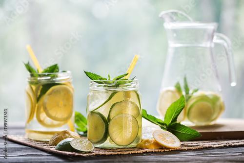 Lemonade with lemon and mint - 199973514