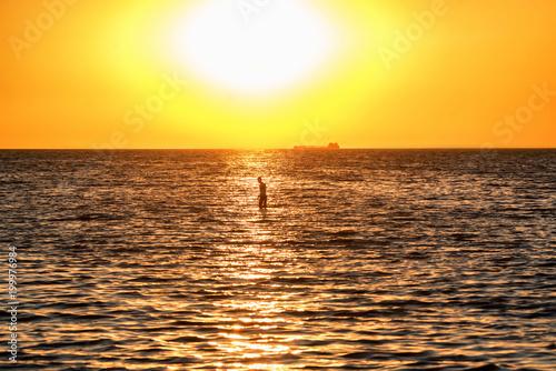 Fotobehang Meloen Beautiful sea landscape of man in Sea of Azov