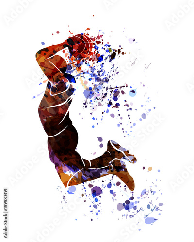 Watercolor silhouette of basketball player