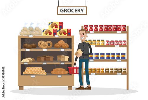 Supermarket interior set.