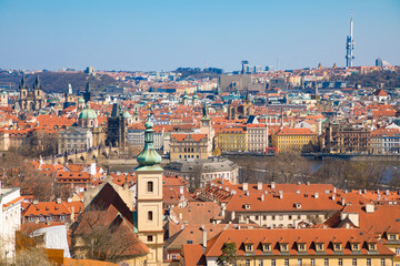 View of Old Town of Prague in sunny day, Czech Republic