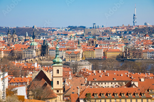 Fotobehang Praag View of Old Town of Prague in sunny day, Czech Republic