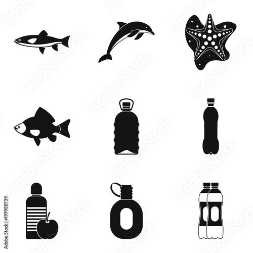 Watershed icons set, simple style