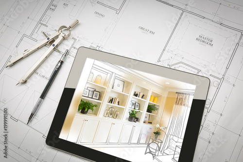 Computer Tablet with Finished Built-in Shelves and Cabinets Over House Plans, Pencil and Compass.