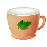 Empty mug for coffee or tea. Cup in realistic style close–up. The cup isolated on white background. Vector illustration of the mug beige color. - 199993560