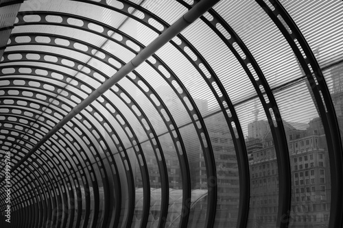 Abstract Modern Pedestrian Tunnel with City View - 199995768