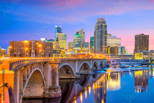 Minneapolis downtown skyline in Minnesota, USA