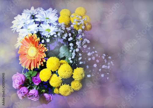 Aluminium Gerbera beautiful bouquet of gerbera flowers roses and yellow chrysanthemums close up