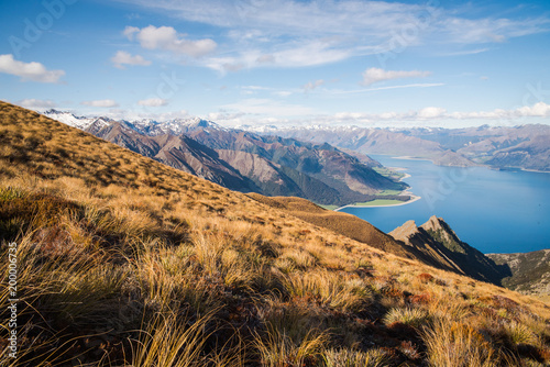 Fotobehang Blauwe hemel Landscape view of a lake and mountains from the top of Isthmus Peak in New Zealand.
