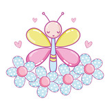 buttlerfly insect animal with flowers and hearts
