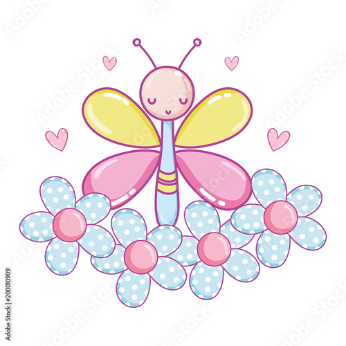 buttlerfly insect animal with flowers and hearts - 200010909