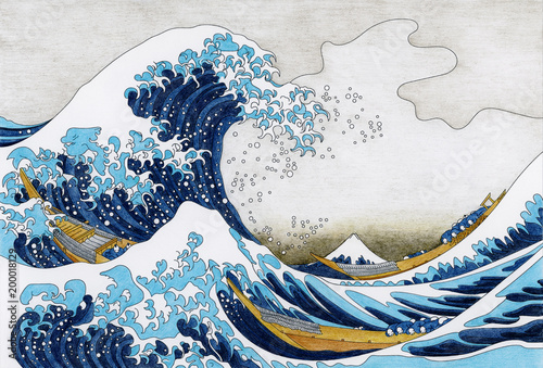 Hokusai The Great Wave Of Kanagawa adult coloring page © Rawpixel.com