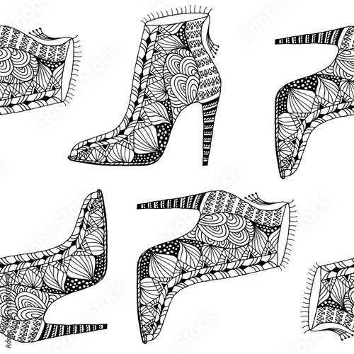Materiał do szycia seamless background with fantasy pattern shoes