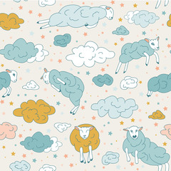 Childish good night sleep seamless pattern background. Cartoon moon, star, sheep for design card, wallpaper, wrapping paper, album, book, scrapbook, textile fabric, garment, t-shirt.