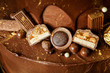decoration of chocolate cake macro view