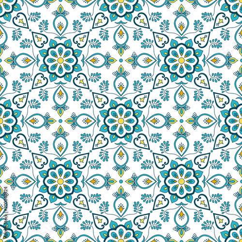 Portuguese tile pattern vector seamless with flower ornaments. Portugal azulejo, mexican puebla talavera, spanish or italian majolica. Tiled texture for house kitchen or bathroom flooring ceramic.