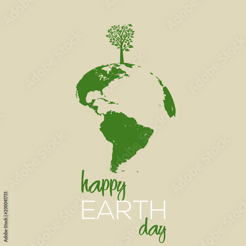 Happy Earth day concept. Vector illustration.