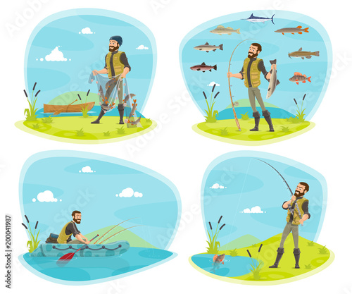 Fishing sport icon of fisherman with fish - 200041987
