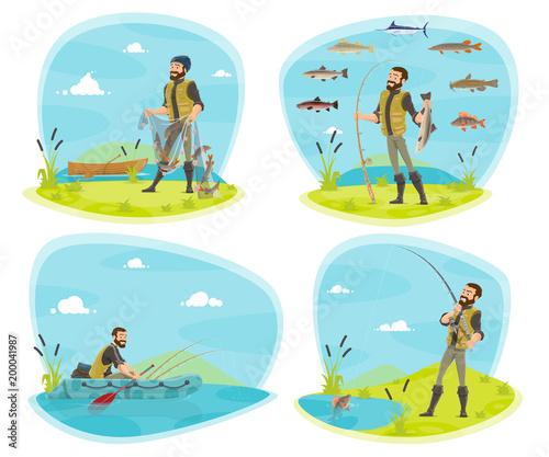 Łowić sport ikonę rybak z ryba