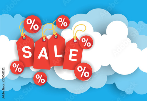 Sale Poster Template With Red Tags Over Blue And White Clouds Background Flat Vector Illustration - 200043322