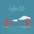 Explore USA, San Francisco image with Golden Gate bridge vector illustration