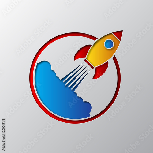 Fototapeta The space rocket icon carved from paper. Vector illustration.