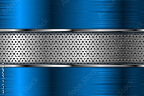 Niebieskie tło metalowe z perforacją