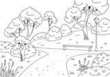 Park graphic black white bench lamp landscape sketch illustration vector - 200055167