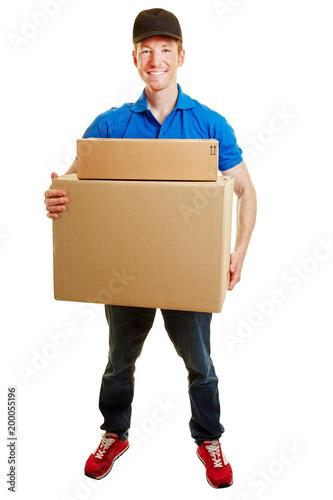Foto Murales Paketbote mit Paket bei Lieferung