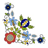 Traditional, modern Polish - Kashubian floral folk corner decoration vector - wzór kaszubski, haft kaszubski, wzory kaszubskie - 200056125