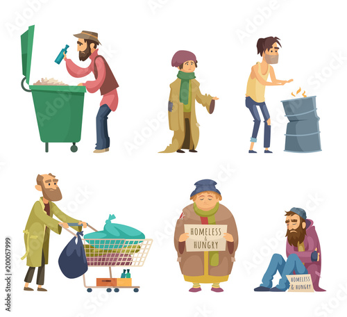 poor and homeless adults people vector characters set buy photos