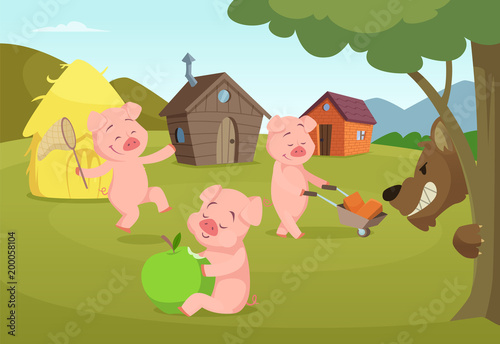 Aluminium Boerderij Three little pigs near their small houses and scary wolf