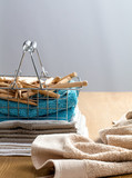 towels with wooden clothing pins for laundry and hygiene concept - 200063975