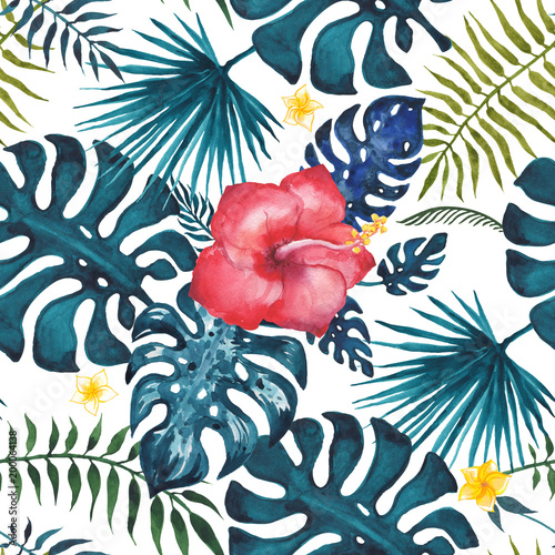 Tropical seamless pattern. Flowers and palm leaves. Hand drawn, hand painted watercolor illustration. White background - 200064138