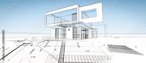Szkic nowoczesnego domu architekta