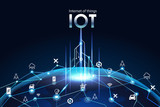 Internet of things (IOT), devices and connectivity concepts on a network, cloud at center. digital circuit board above the global Earth. - 200067196