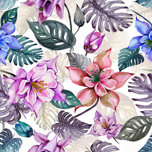 Beautiful aquilegia or columbine flowers and exotic monstera leaves on white background. Watercolor painting. Tropical seamless floral pattern. Hand drawn © katiko2016