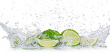 Fresh limes with water splash - 200073754