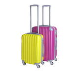 Crimson and yellow suitcases isolated on white background. Polycarbonate suitcases isolated on white. Two suitcases.