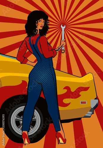 Foto op Plexiglas Pop Art Pop art, black-haired girl mechanic with a wrench at the yellow retro car. Vector illustration